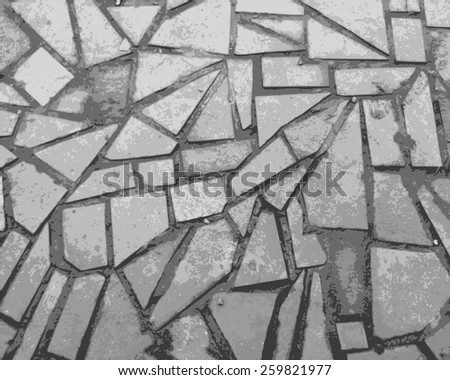 Stone wall in black and white close-up performed - stock vector