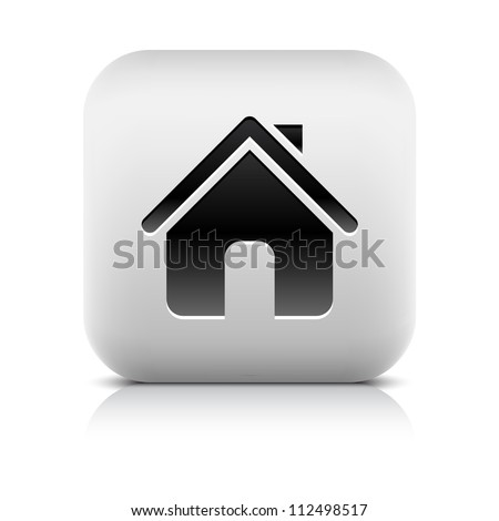 Stone web 2.0 button home symbol sign. White rounded square shape with black shadow and gray reflection on white background. This vector illustration clip-art design element saved in 8 eps - stock vector