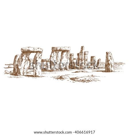 Stonehenge, prehistoric monument, Wiltshire, England. Hand drawn sketch. - stock vector