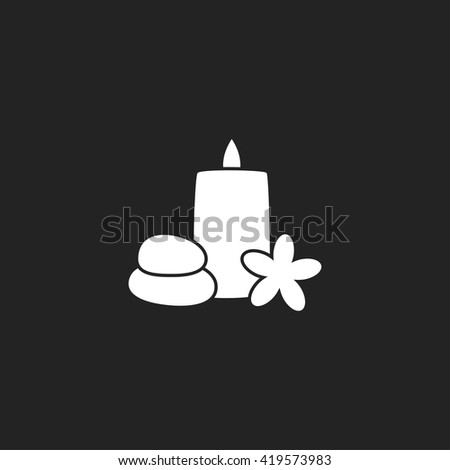 Stones, Candle and Plumeria Icon. Stones, Candle and Plumeria Icon Art. Stones, Candle and Plumeria Icon Web. Stones, Candle and Plumeria Icon Pic. Stones, Candle and Plumeria Icon EPS. - stock vector