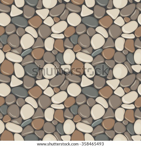 Stones seamless pattern. Vector seamless background with smooth pebble. Natural colors seaside wet pebble vector illustration. Spa stones flat design. - stock vector