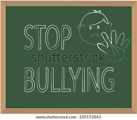Stop bullying chalk illustration vector - stock vector