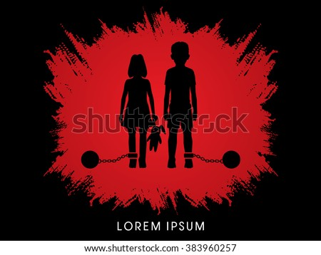 Stop Child abuse ,Children with chain and ball designed on grunge frame background graphic vector. - stock vector