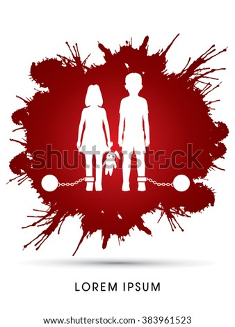 Stop Child abuse ,Children with chain and ball designed on grunge splash blood background graphic vector. - stock vector