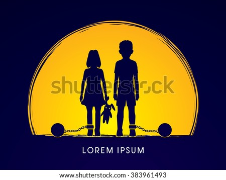 Stop Child abuse ,Children with chain and ball designed on moonlight background graphic vector. - stock vector