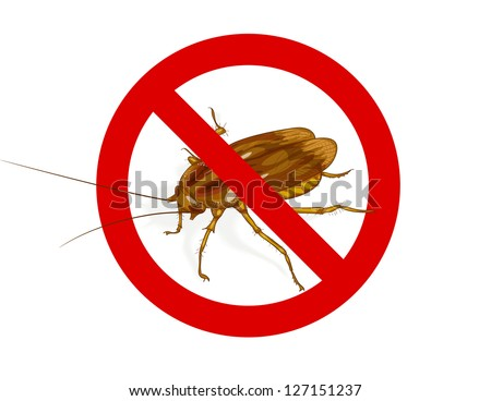 Stop Cockroach sign. Vector illustration. - stock vector
