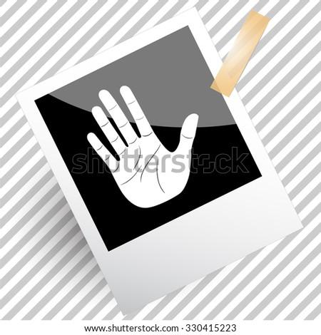 stop hand. Photoframe. Vector icon. - stock vector