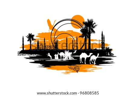 Stop in the desert for recreation camels - stock vector