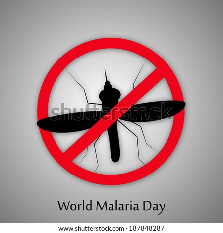 Stop Malaria sign with Mosquito for World Malaria Day - stock vector