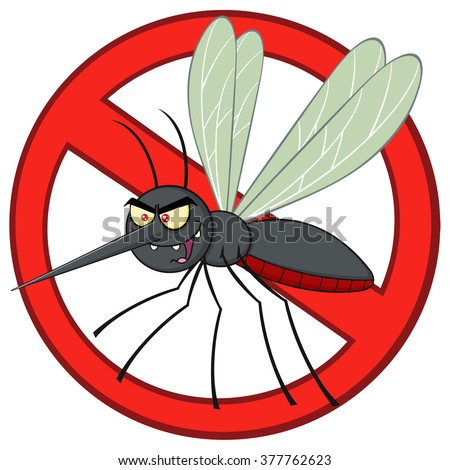 Stop Mosquito Cartoon Character With Prohibited Symbol. Vector Illustration Isolated On White - stock vector