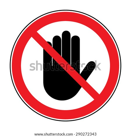 STOP! No entry. Black hand sign on white background. Hand sign for prohibited activities. Vector illustration - you can simply change color and size - stock vector