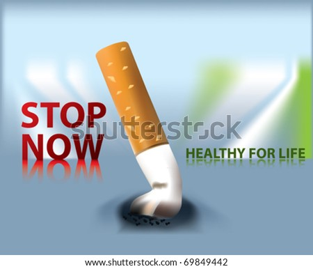 stop now. stop smoking. - stock vector