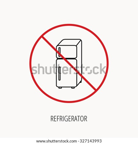 Stop or ban sign. Refrigerator icon. Fridge sign. Prohibition red symbol. Vector - stock vector