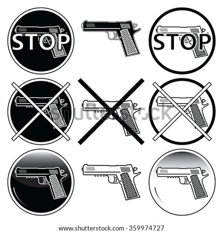Stop selling, use and illegal, underage use of guns icons sets  against crime in black and white with button element  - stock vector