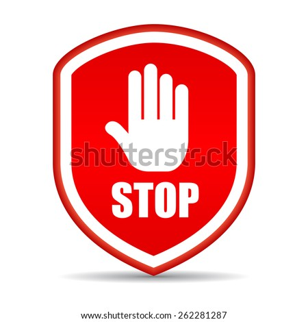Stop shield icon - stock vector