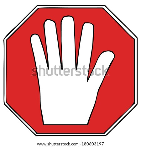 stop sign, hand, vector illustration - stock vector