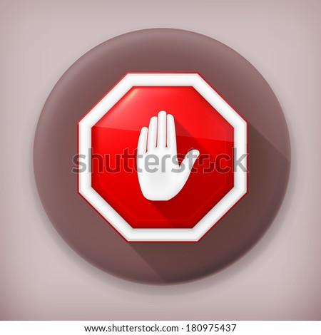 Stop sign, long shadow vector icon - stock vector
