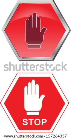 stop sign with hand in 3D and 2D vector illustration - stock vector