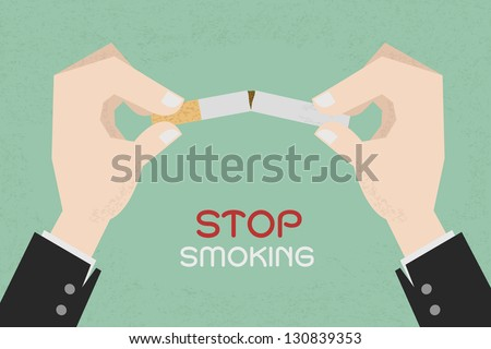 Stop smoking, human hands breaking the cigarette  , eps10 vector format - stock vector
