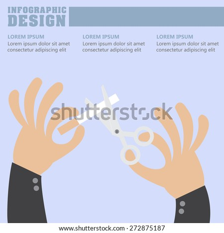Stop smoking Infographic, scissors for cutting, breaking the cigarette, eps10 vector format. - stock vector