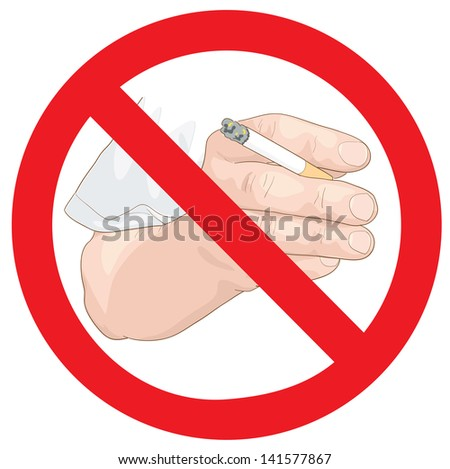 Stop smoking sign. Hand with a cigarette. Vector illustration. - stock vector