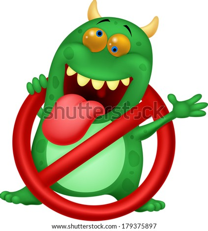 Stop virus - green virus in red alert sign - stock vector
