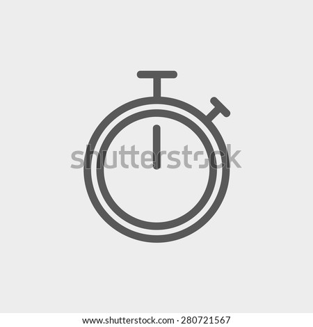 Stop watch icon thin line for web and mobile, modern minimalistic flat design. Vector dark grey icon on light grey background. - stock vector