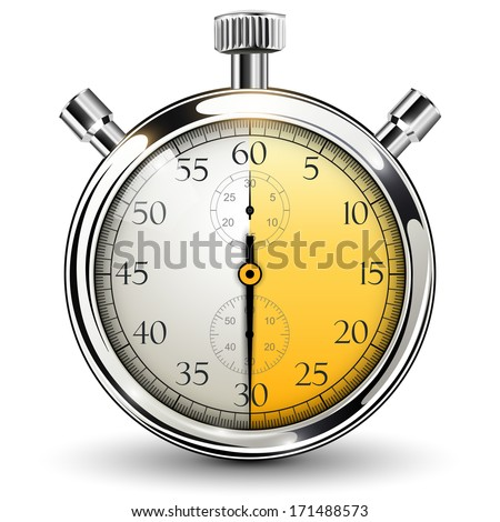 Stop watch, 30 seconds - stock vector