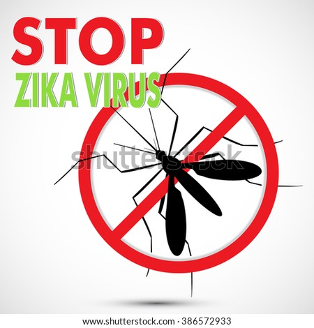 Stop Zika Virus, Aedes Aegypti mosquito with Warning, Prohibited sign. Stop symbol. Ideal for educational, informational, institutional, and related health advisory. Isolated editable Clip Art - stock vector