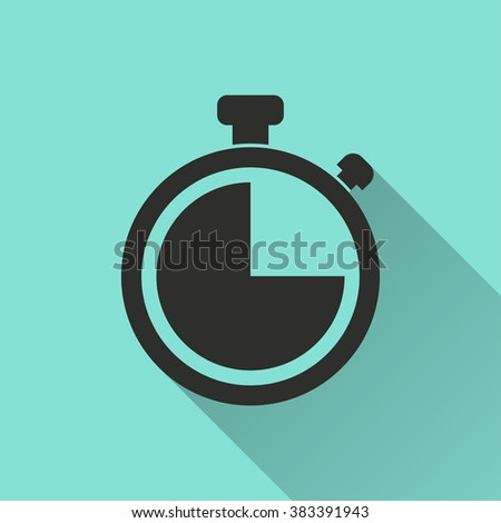 Stopwatch  black icon with long shadow, flat design. Vector illustration. - stock vector