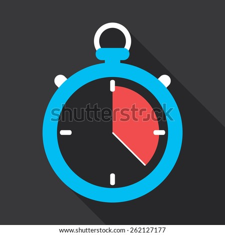 Stopwatch flat icon design. Running out of time concept. - stock vector