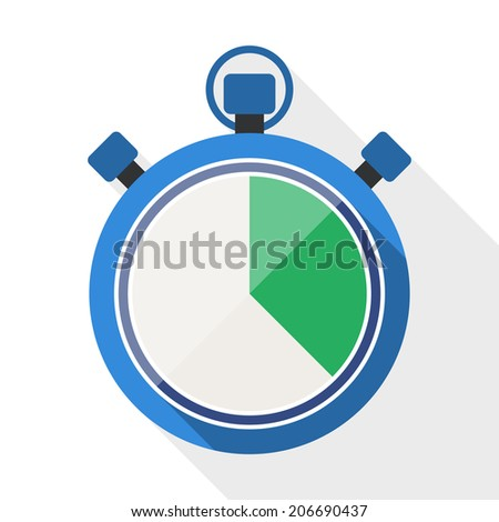 Stopwatch flat icon with long shadow on white background - stock vector