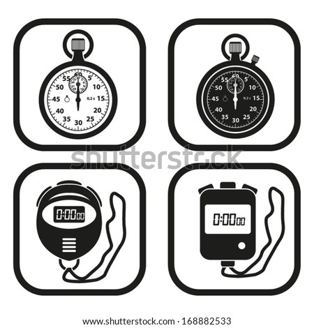 Stopwatch icon - four variations - stock vector