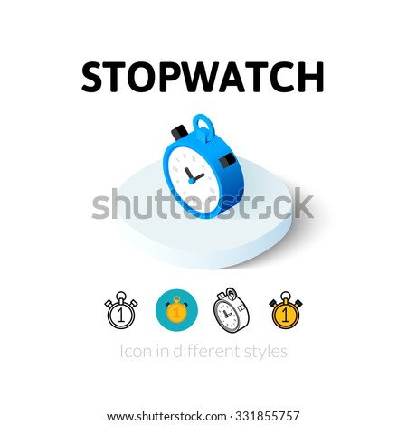 Stopwatch icon, vector symbol in flat, outline and isometric style - stock vector