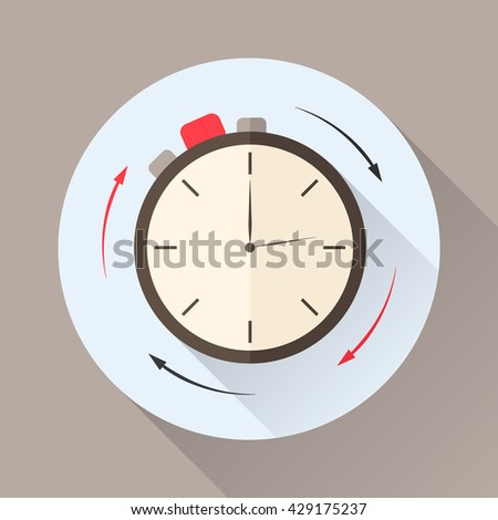 Stopwatch in flat style with shadow. Countdown. The clockwise motion. Icon for business or time-management. Vector illustration. - stock vector