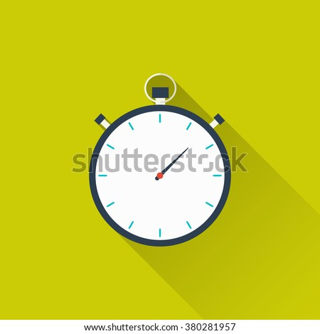 Stopwatch, timer icon. Concept of victory, achievement, goal, active lifestyle. Flat design with long shadow on isolated background. Vector illustration for your projects, websites or applications - stock vector
