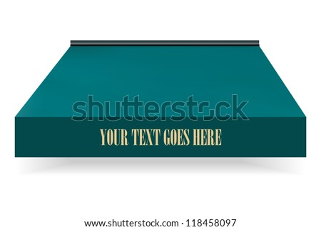 store awning in green color with drop shadow - stock vector