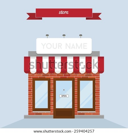 Store building. Flat style design - vector - stock vector