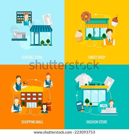 Store buildings flat icons set with sweet fashion general shop mall vector illustration - stock vector