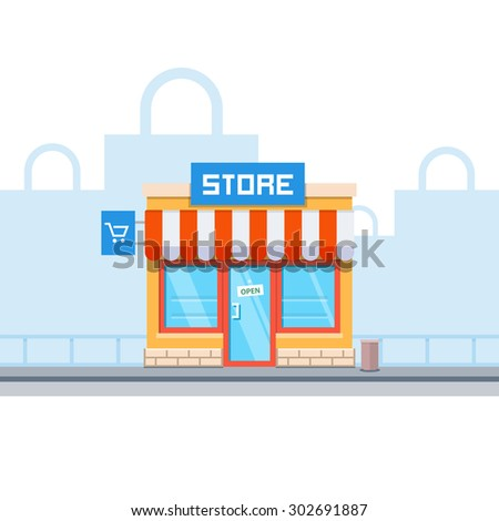 Store facade and bags in the background. Vector illustration in flat style - stock vector