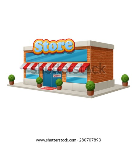 Store grocery shop building isolated on white background vector illustration - stock vector