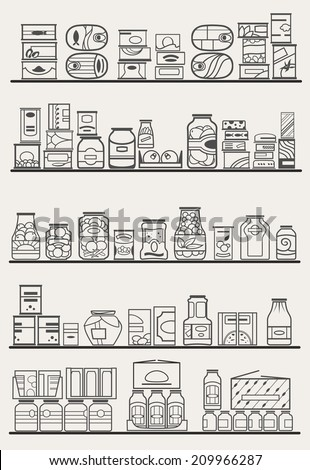 store shelves with different preserves and canned goods - stock vector
