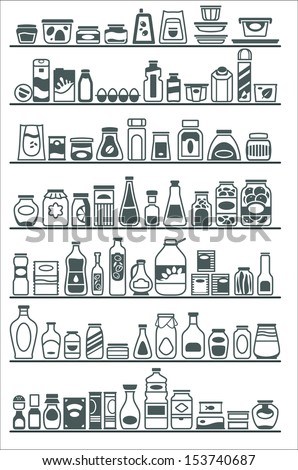 store shelves with goods - stock vector
