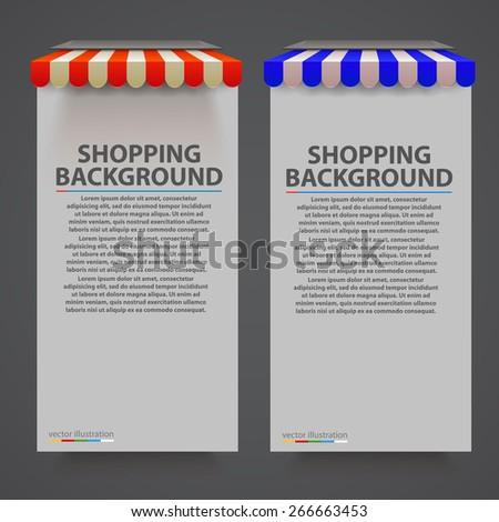 Store striped awning modern banner. Vector illustration - stock vector