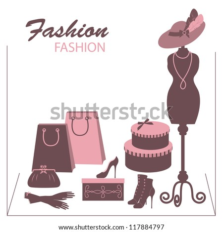Storefront fashion shop with women accessory. Hand drawing illustration. - stock vector
