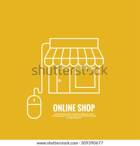 Storefront with cable and a computer mouse. The concept of online shopping, commerce. minimal, outline. - stock vector