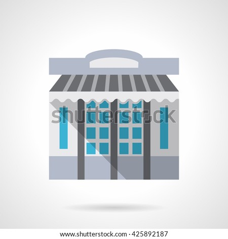 Storefronts and showcases theme. Stationery store facade with awning or shade. Commercial buildings. Flat style color vector icon - stock vector