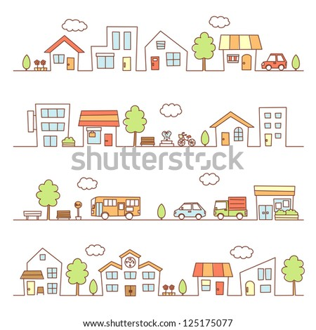 stores and houses on a street - stock vector