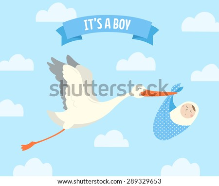 Stork carrying a cute baby. It's a boy! Vector illustration. - stock vector
