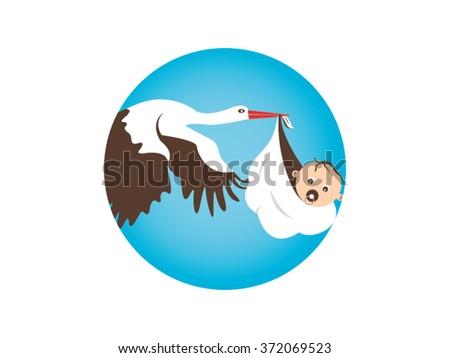 Stork Carrying Baby - stock vector